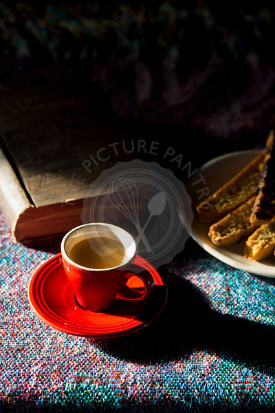Coffee, biscotti and a book