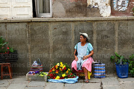 Woman wearing traditional dress selling flowers on street stall, Tarija, Bolivia