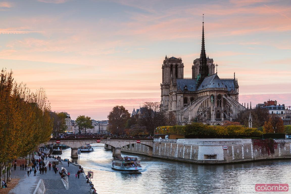 River Seine and Notre Dame at sunset, Paris France