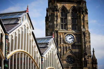 Stockport Market and  St Mary's Church