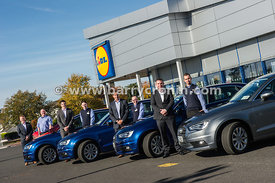 7th October, 2015.Lidl store managers pictured receiving their new Audi A3 cars in the Patrick Street, Mulling Store. From le...