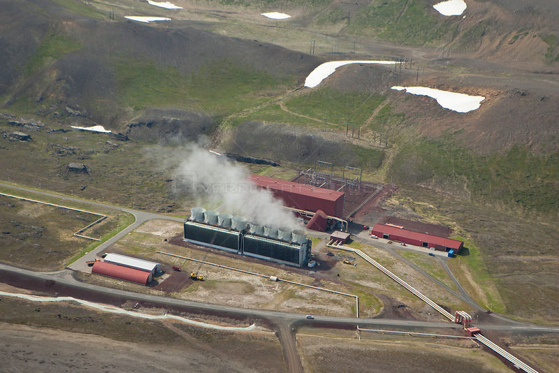 Aerial view of geothermal energy plant, Iceland, June.