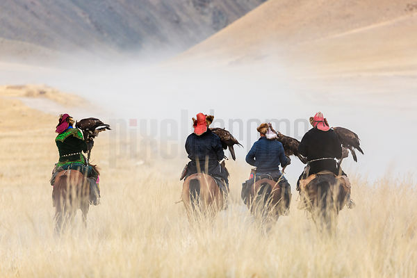 Golden Eagle Hunters Riding to the 2016 Eagle Festival