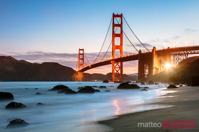 Dawn at the Golden gate bridge, San Francisco, California, USA