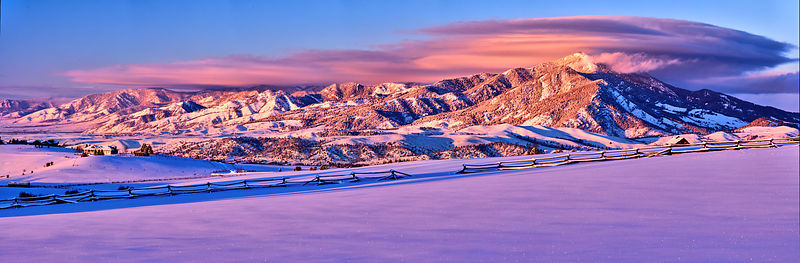 Bridger Range Winter Sunset Panorama