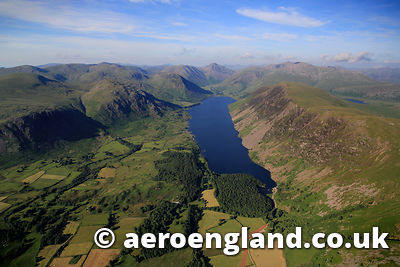 .aerial photograph of Wast Water in the Lake District  Cumbria England  UK