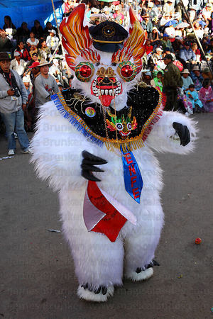 Bear dancer taking part in the Diablada dance, Oruro Carnival, Bolivia