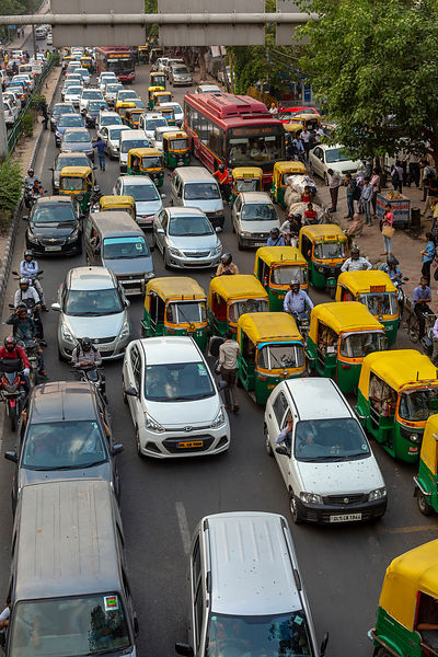 Gridlocked Traffic In New Delhi