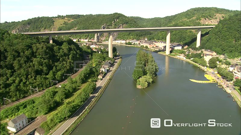 Flying under the bridge on the Meuse at Dinant, Belgium