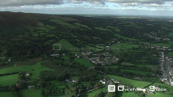 Aerial view tracking over South Zeal, Dartmoor National Park, Devon, England, UK, October 2015.