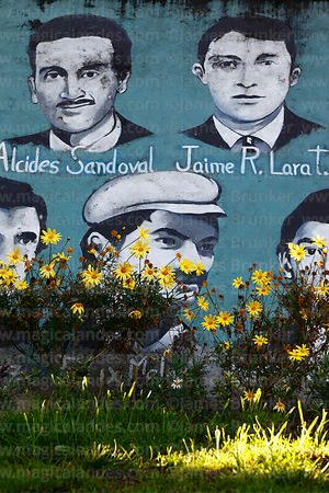 Mural with portraits of political prisoners who disappeared in military regimes in 1970s and 1980s, Human Rights Garden, Sopo...