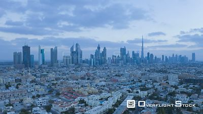 Timelapse from day to night looking towards the Dubai skyline on Sheikh Zayed Road, including the Burj Khalifa, Dubai, United...