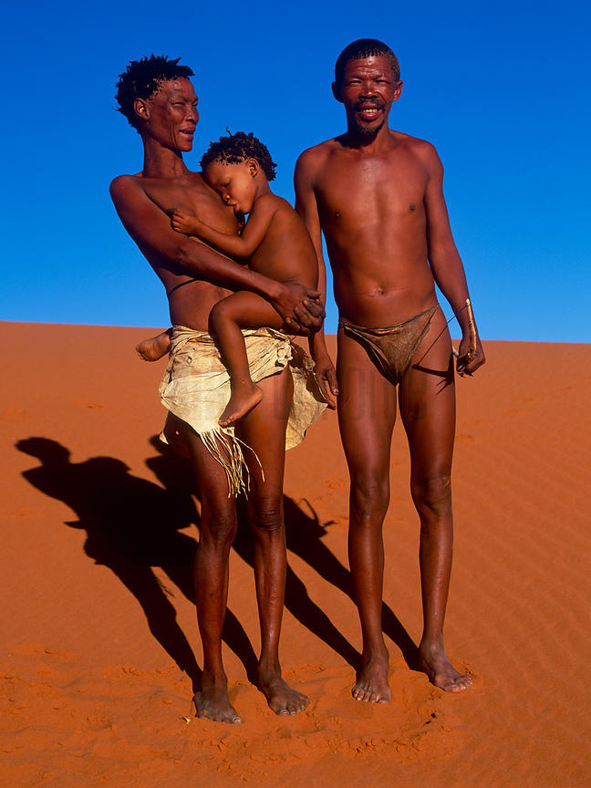 Portrait of a San Family in the Kalahari Desert