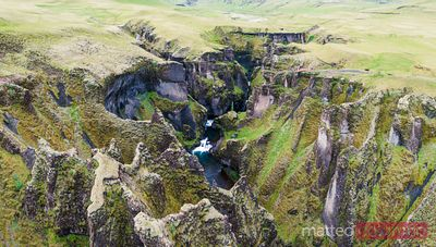 Pano drone view of Fjadrargljufur canyon, Iceland