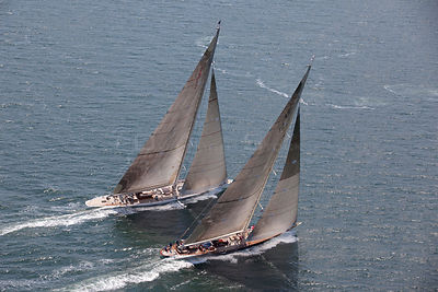 "Aerial view of J-class yachts ""Ranger"" and ""Velsheda"" racing in the J Class Regatta, Newport, Rhode Island, USA, June 2011. A..."