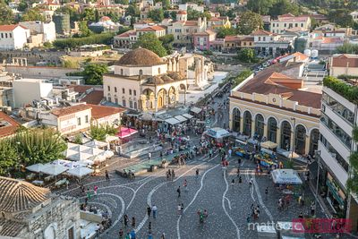 Elevated view of famous Monastiraki square crowded with people, Athens, Greece