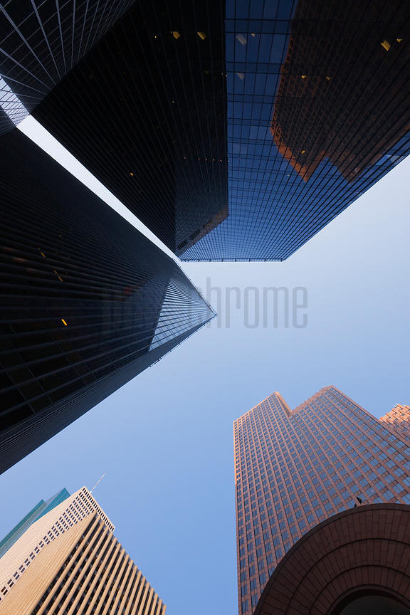 Low angle view of skyscrapers in a city, Houston, Harris County, Texas, USA