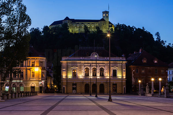 The Philharmonic Building and Ljubljana Castle from Congress Square