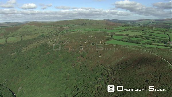 Aerial view of the Dart Valley and Bel Tor, Dartmoor National Park, Devon, England, UK, October 2015.