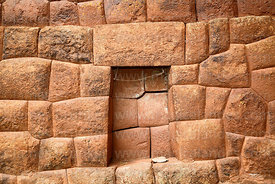 Inca wall and niche in Huchuy Qosqo site, Cusco Region, Peru