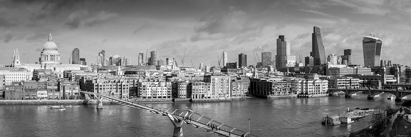 London skyline, St Paul's and the City black and white version