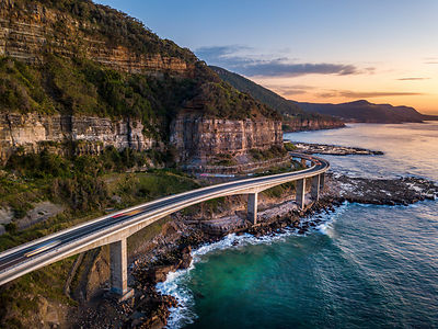 Zoom Zoom the cars go on the Sea Cliff Bridge, Ausralia
