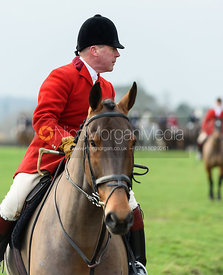 John Holliday leaving the meet. The Belvoir Hunt at Highfield Farm 12/12