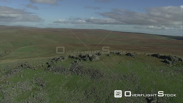 Aerial view of High Plateau, Dartmoor National Park, Devon, England, UK, October 2015.