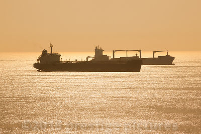 Oil Tanker Emmanuel Tomasos on a Beautiful Golden Sea