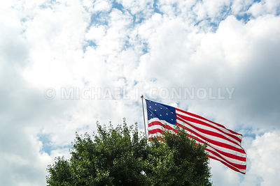 American Flag Above a Tree Top