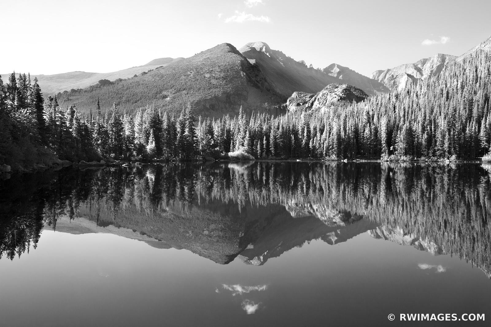 BEAR LAKE IN SUMMER ROCKY MOUNTAIN NATIONAL PARK COLORADO BLACK AND WHITE MOUNTAINS LANDSCAPE