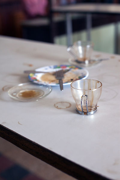 Ethiopia - Addis Ababa - Empty cups and plates in the Ras Makonnen pastry and coffee house