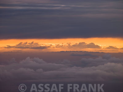 Clouds at dusk, aerial view