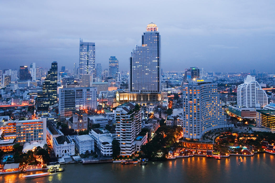 Bangkok Skyline on the West Bank of Chao Phraya River at Dusk, Thailand