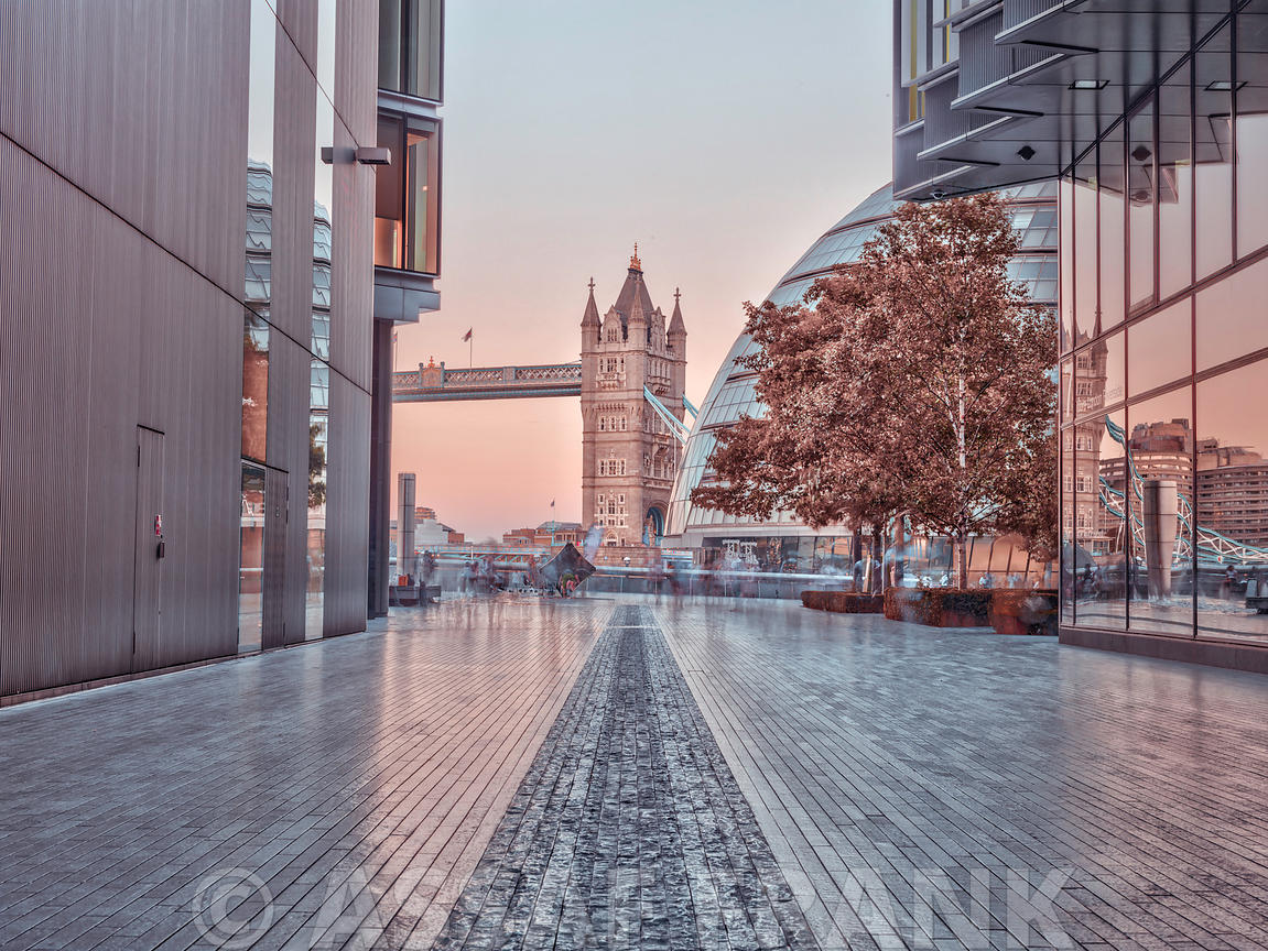 Tower bridge seen through buildings in London