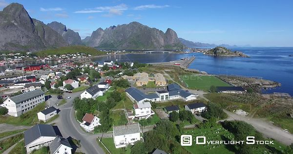 Small Fishing Village of Lofoton Norway With Mountains and Fjord