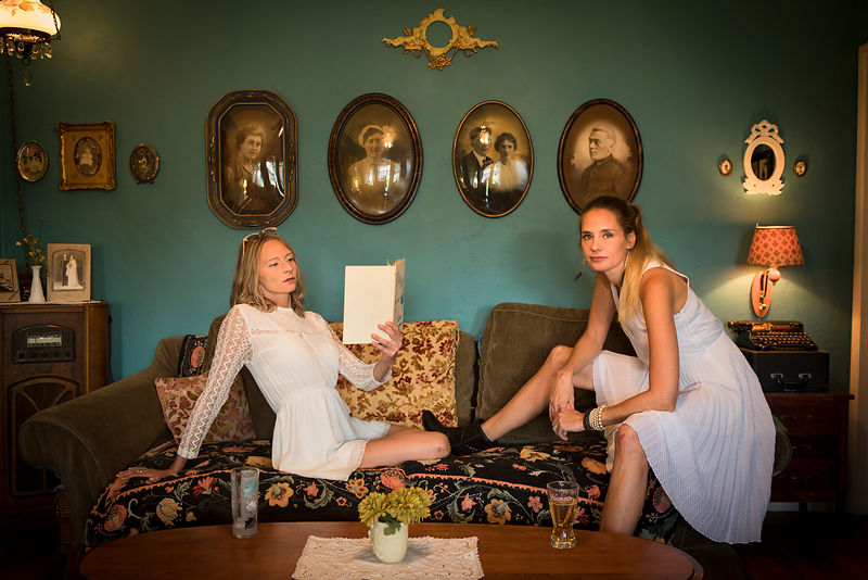 Sisters Lesli and Lori Englert, artists and avid gardeners, in their living room in Phoenix, Arizona