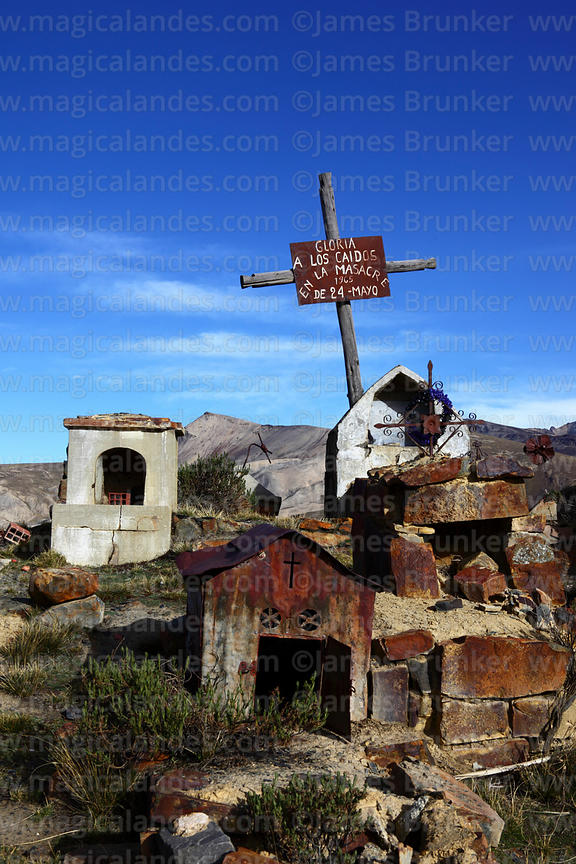Cross in Milluni cemetery commemorating miners killed on 24th May 1965, Cordillera Real, Bolivia