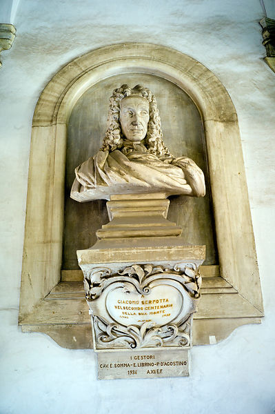 Italy - Palermo - Bust of Giacomo Serpotta outside the Oratorio del Rosario di Santa Cita which he created between 1686 and 1718