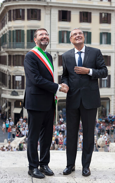 Restauration work on the famous Spanish Steps is inaugurated by Mayor of Rome ignazio Marino and CEO of Bulgari Jean-Christop...