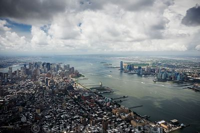 Aerial New York City Hudson River