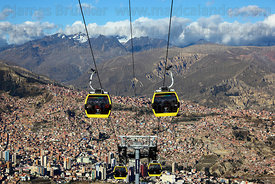 Yellow Line cable car gondolas above La Paz , Cordillera Real mountains in background , Bolivia