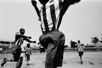 Sierra Leone - Makeni - Members of the Amputee Football Team practice heading