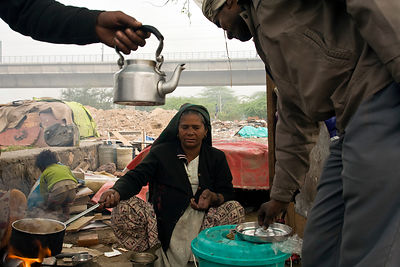 India - New Delhi - Sheela ('more than 60 years old') at her tea stall on waste ground near Nehru Place