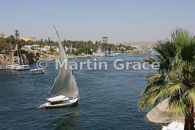 A felucca (traditional sailing vessel) on the River Nile at Aswan, Egypt