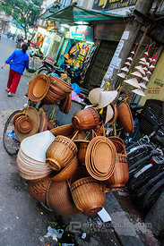 Basket Seller on Bike in Hanoi