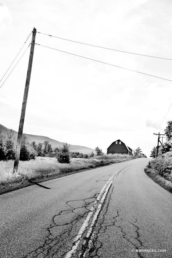 COUNTRY ROAD AND A BARN VERMONT BLACK AND WHITE