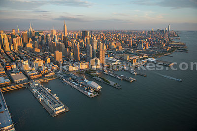 Aerial view looking across Midtown Manhattan from the Hudson River