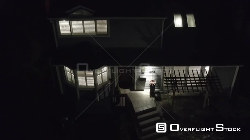 Night Drone Video of Suburban SIngle Family House in Seattle Washington