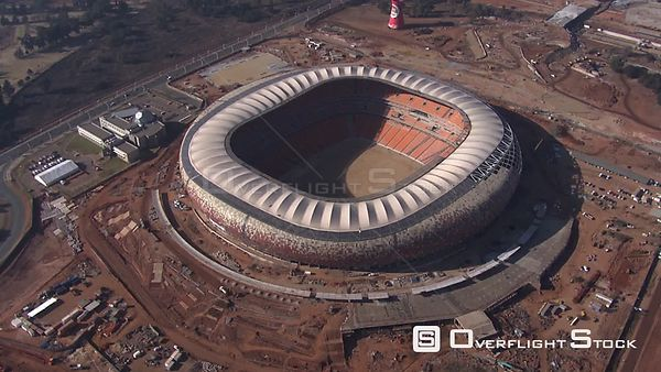 Aerial shot of the soccer city stadium in Johannesburg Johannesburg Gauteng South Africa
